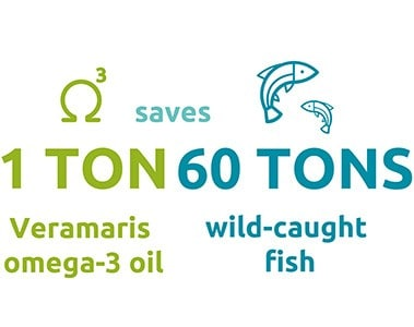 1 ton algal oil = 60 tons wild-caught fish