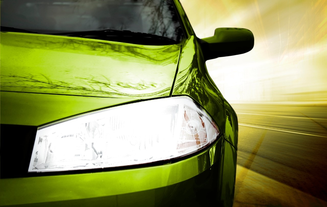 Green Sport Car - Front side