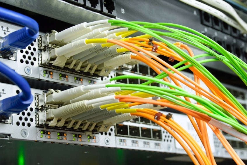 Picture of optical cables pluged in network server