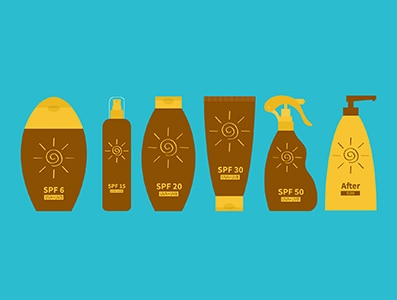 Tube of suntan oil cream. After sun lotion. Bottle set. Solar defence icon. SPF 6 15 20 30 50 sun protection factor. UVA UVB sunscreen. Blue background. Flat design. Vector illustration